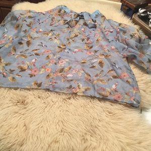 Forever 21 Woven Bird Print Size XL Crop Blouse